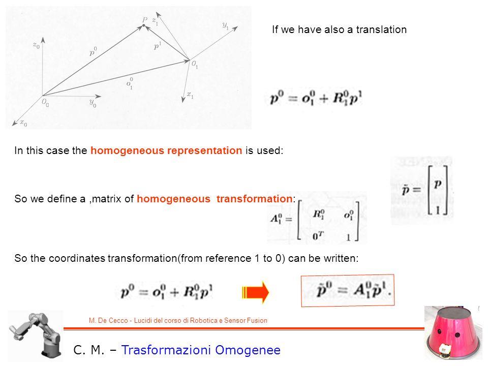 M. De Cecco - Lucidi del corso di Robotica e Sensor Fusion C. M. – Trasformazioni Omogenee In this case the homogeneous representation is used: If we