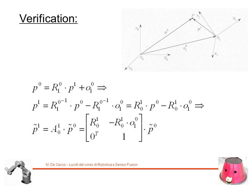 M. De Cecco - Lucidi del corso di Robotica e Sensor Fusion Verification: