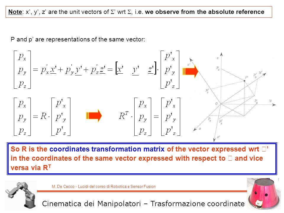 M. De Cecco - Lucidi del corso di Robotica e Sensor Fusion P and p are representations of the same vector: Note: x, y, z are the unit vectors of wrt,