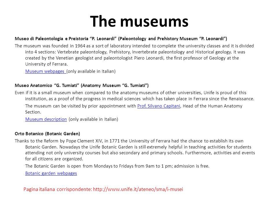 The museums Museo di Paleontologia e Preistoria P.