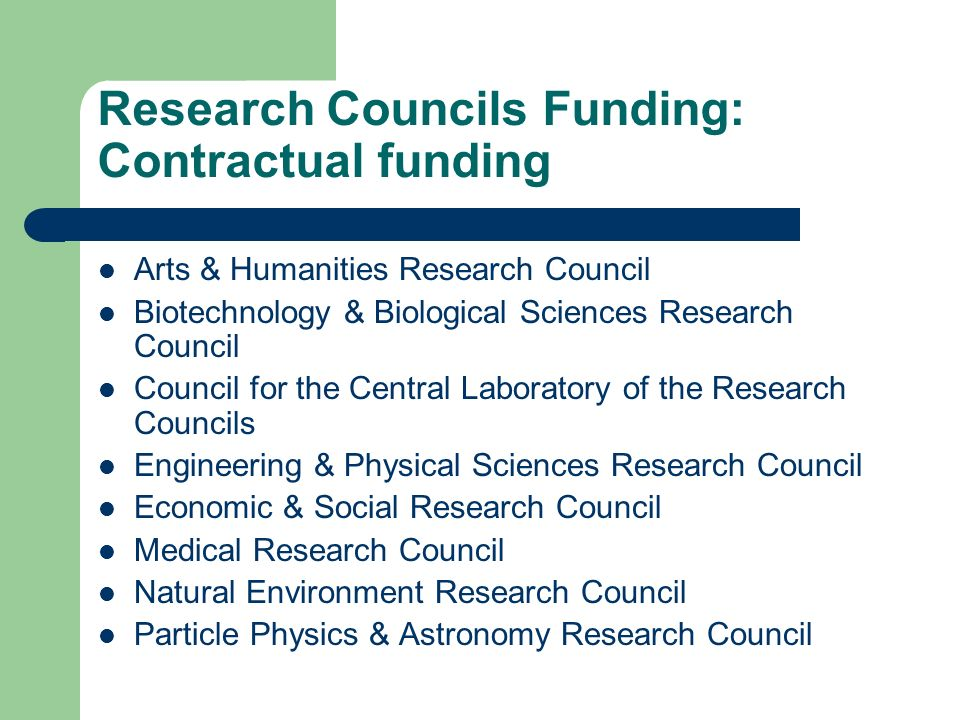 Research Councils Funding: Contractual funding Arts & Humanities Research Council Biotechnology & Biological Sciences Research Council Council for the