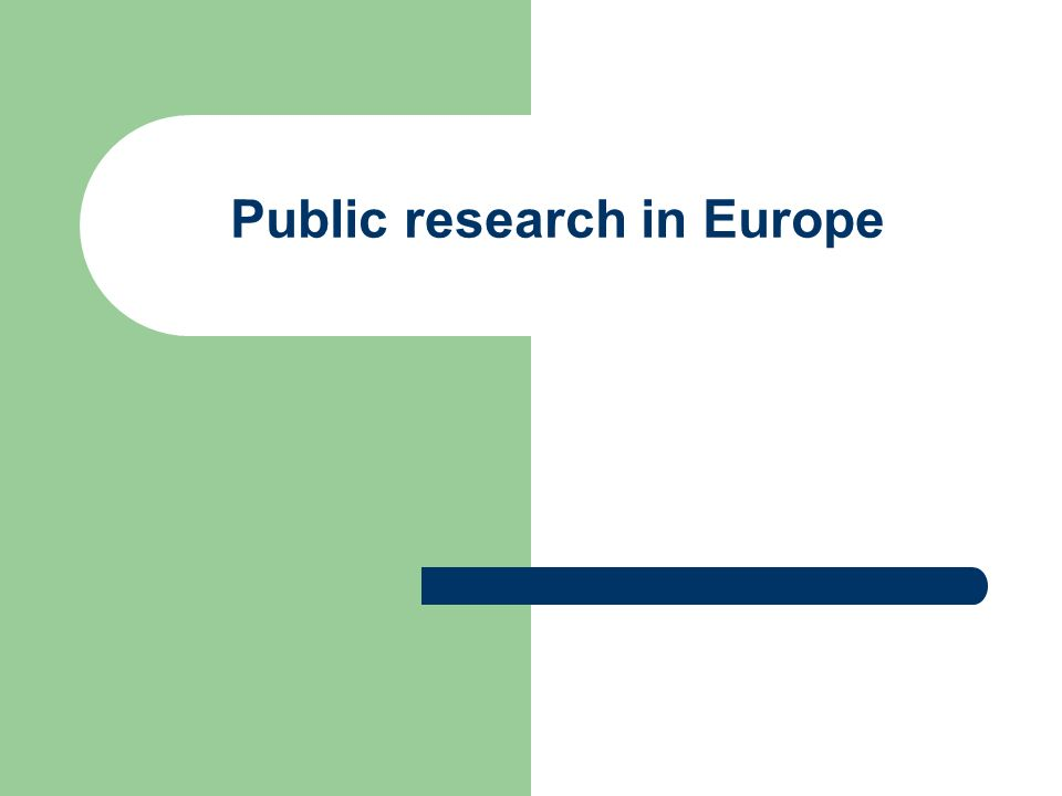 Public research in Europe