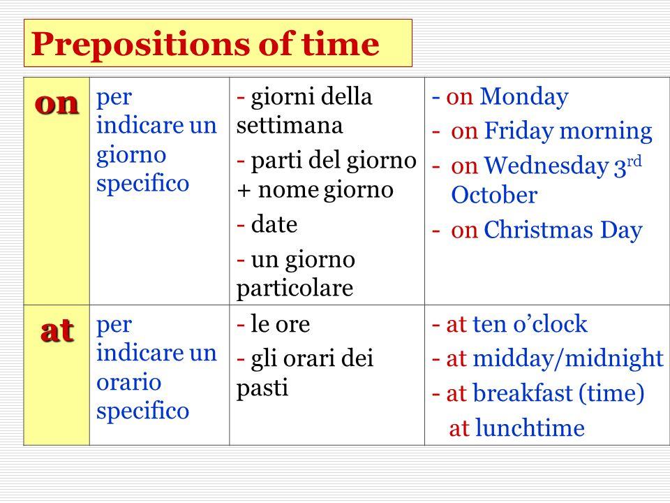 Prepositions of time on per indicare un giorno specifico - giorni della settimana - parti del giorno + nome giorno - date - un giorno particolare - on