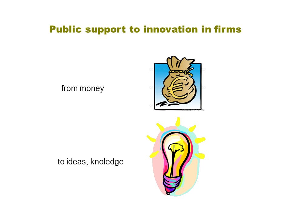 Public support to innovation in firms to ideas, knoledge from money