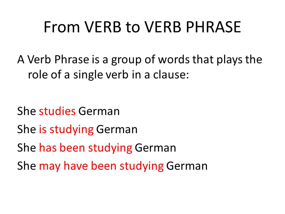 From VERB to VERB PHRASE A Verb Phrase is a group of words that plays the role of a single verb in a clause: She studies German She is studying German She has been studying German She may have been studying German