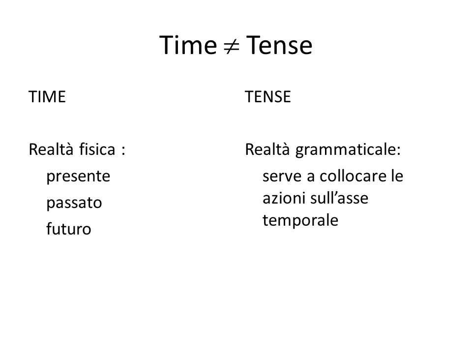 Time Tense TIME Realtà fisica : presente passato futuro TENSE Realtà grammaticale: serve a collocare le azioni sullasse temporale