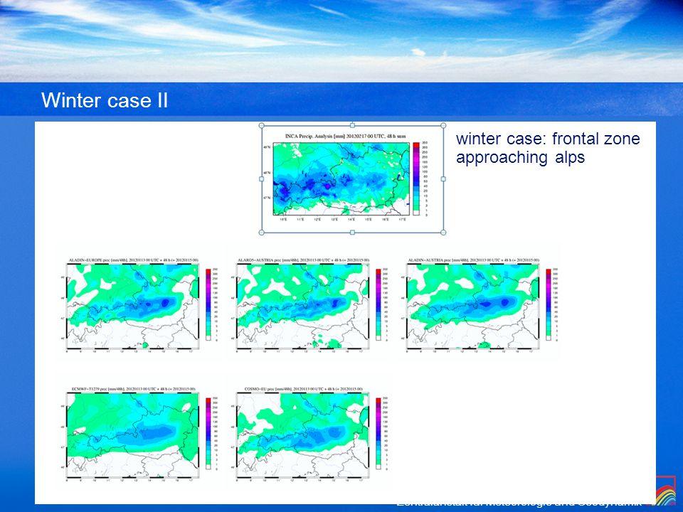 Zentralanstalt für Meteorologie und Geodynamik Winter case II winter case: frontal zone approaching alps