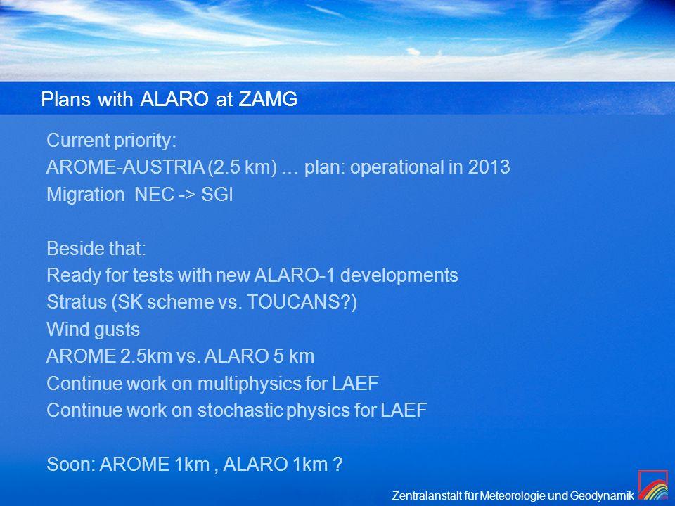 Zentralanstalt für Meteorologie und Geodynamik Plans with ALARO at ZAMG Current priority: AROME-AUSTRIA (2.5 km) … plan: operational in 2013 Migration