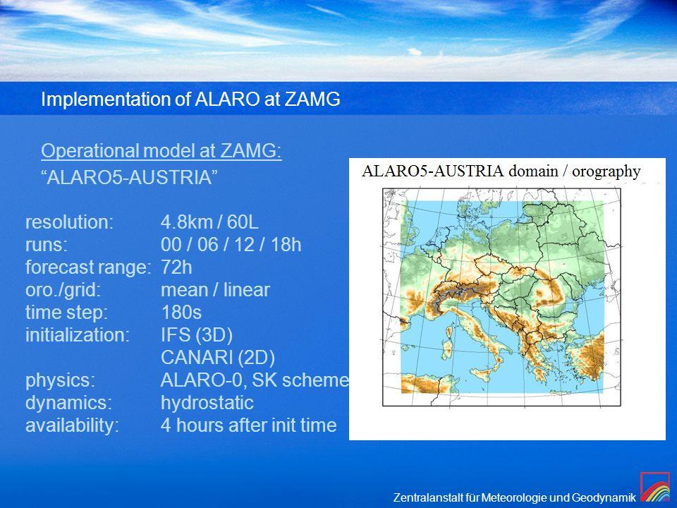 Zentralanstalt für Meteorologie und Geodynamik Implementation of ALARO at ZAMG Operational model at ZAMG: ALARO5-AUSTRIA resolution: 4.8km / 60L runs: