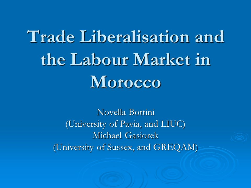 Trade Liberalisation and the Labour Market in Morocco Novella Bottini (University of Pavia, and LIUC) Michael Gasiorek (University of Sussex, and GREQ