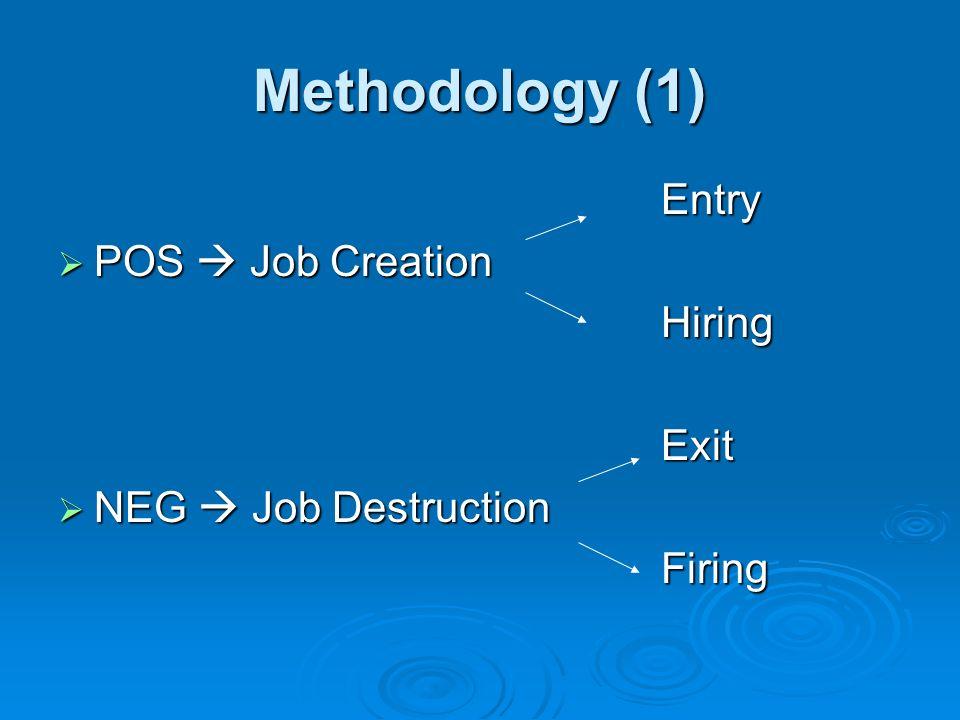 Methodology (1) Entry Entry POS Job Creation POS Job Creation Hiring Hiring Exit Exit NEG Job Destruction NEG Job Destruction Firing Firing