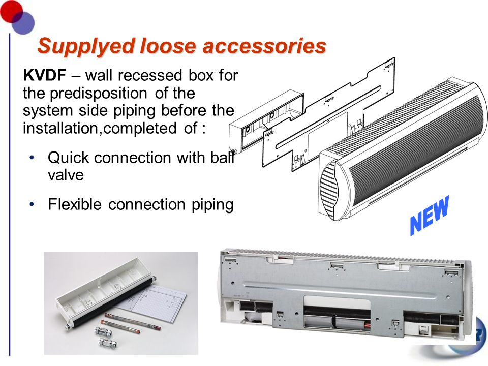 Supplyed loose accessories KVDF – wall recessed box for the predisposition of the system side piping before the installation,completed of : Quick conn