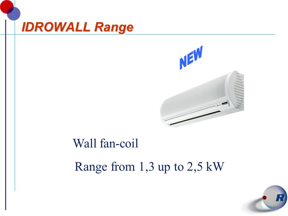 IDROWALL Range Wall fan-coil Range from 1,3 up to 2,5 kW