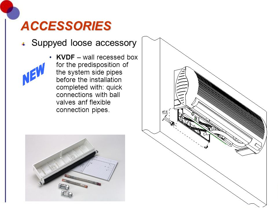 ACCESSORIESACCESSORIES Suppyed loose accessory KVDF – wall recessed box for the predisposition of the system side pipes before the installation comple