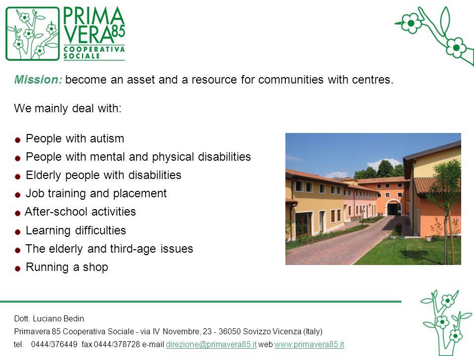 Dott. Luciano Bedin Primavera 85 Cooperativa Sociale - via IV Novembre, 23 - 36050 Sovizzo Vicenza (Italy) tel. 0444/376449 fax 0444/378728 e-mail dir
