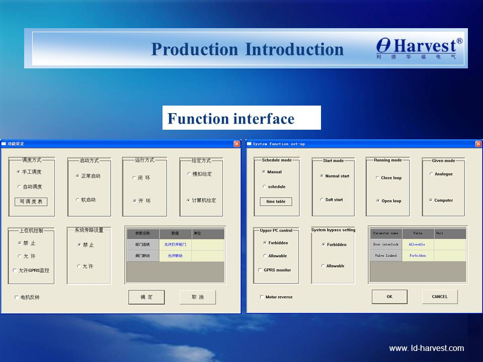 www. ld-harvest.com Production Introduction Function interface