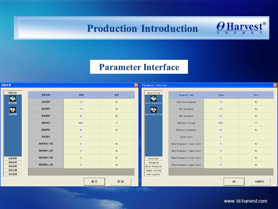 www. ld-harvest.com Production Introduction Parameter Interface