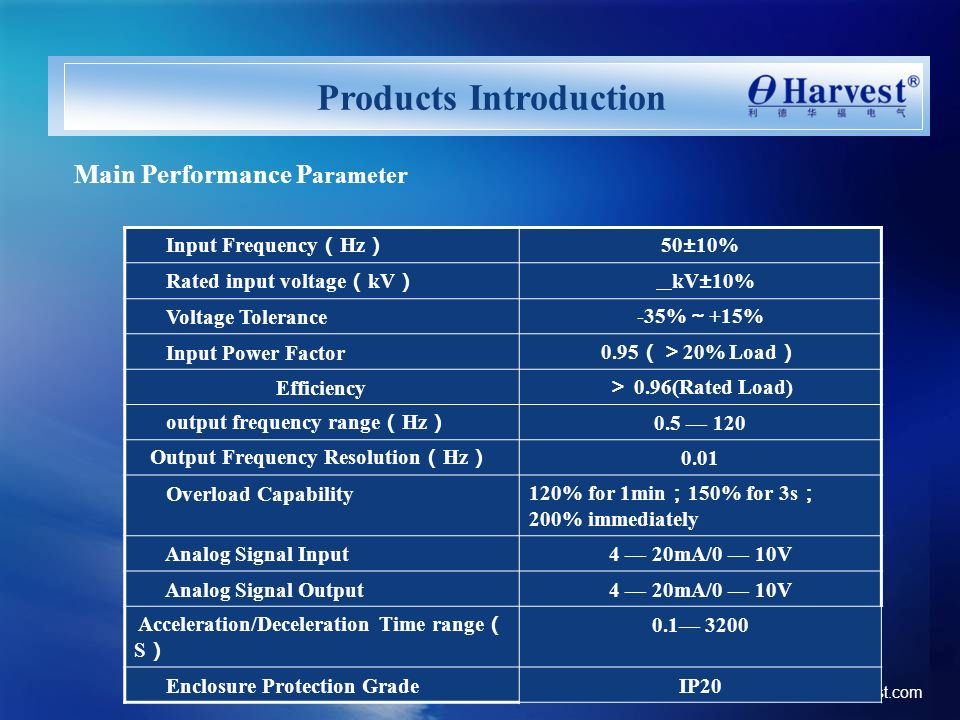 www. ld-harvest.com Main Performance P arameter Input Frequency Hz 50±10% Rated input voltage kV kV±10% Voltage Tolerance -35% +15% Input Power Factor