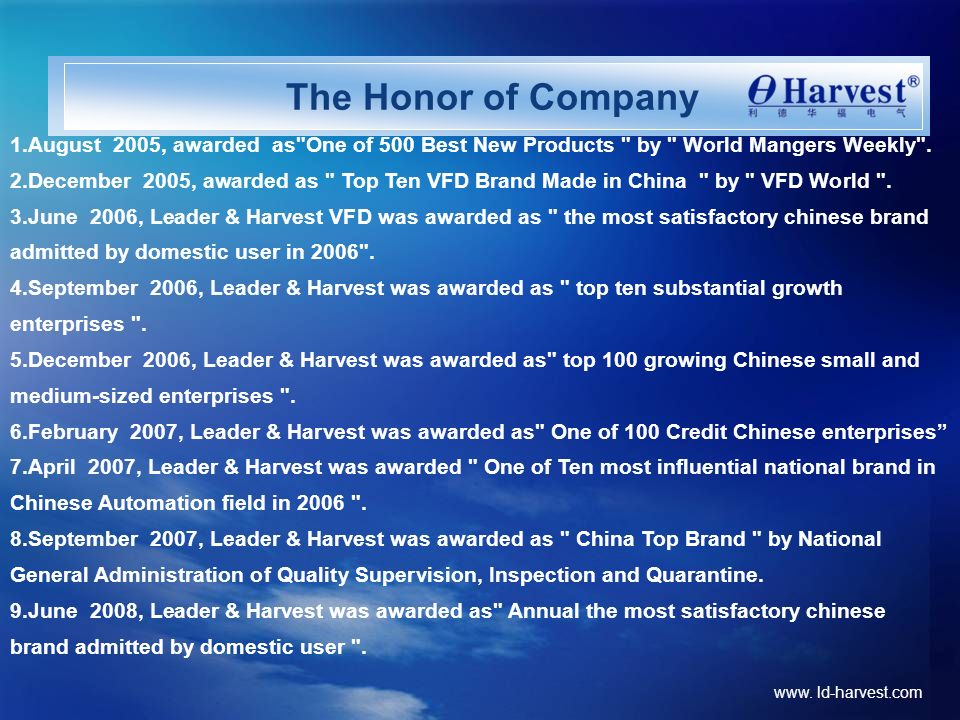 www. ld-harvest.com The Honor of Company 1.August 2005, awarded as