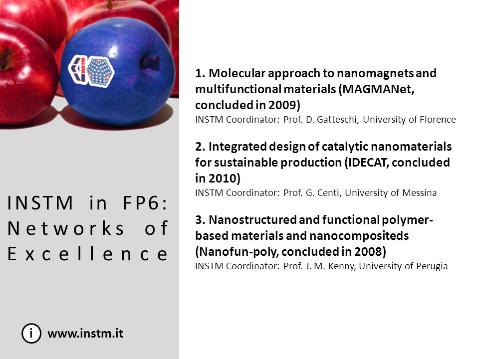INSTM in FP6: Networks of Excellence i www.instm.it 1. Molecular approach to nanomagnets and multifunctional materials (MAGMANet, concluded in 2009) I