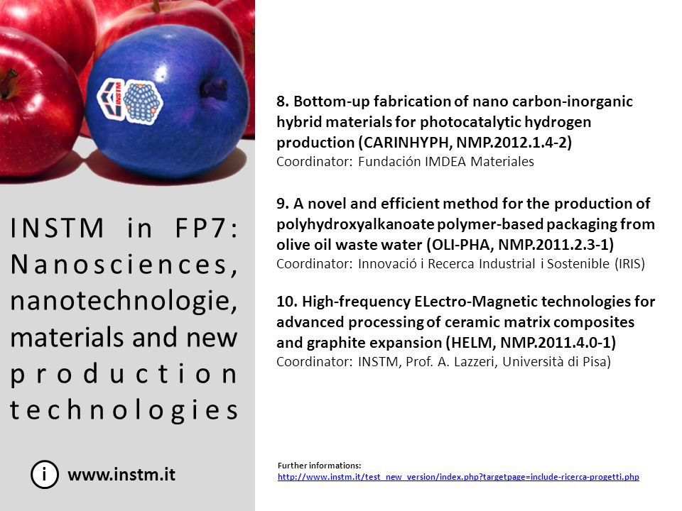 INSTM in FP7: Nanosciences, nanotechnologie, materials and new production technologies i www.instm.it 8. Bottom-up fabrication of nano carbon-inorgani
