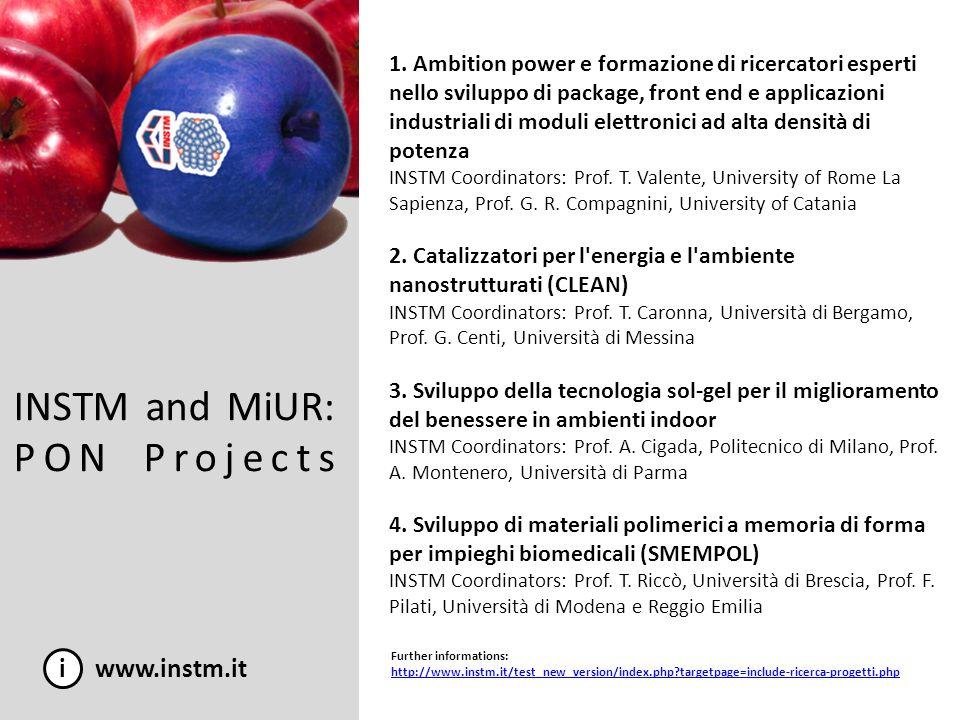 INSTM and MiUR: PON Projects i www.instm.it 1. Ambition power e formazione di ricercatori esperti nello sviluppo di package, front end e applicazioni