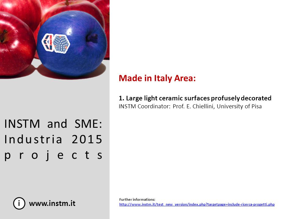 INSTM and SME: Industria 2015 projects i www.instm.it Made in Italy Area: 1. Large light ceramic surfaces profusely decorated INSTM Coordinator: Prof.