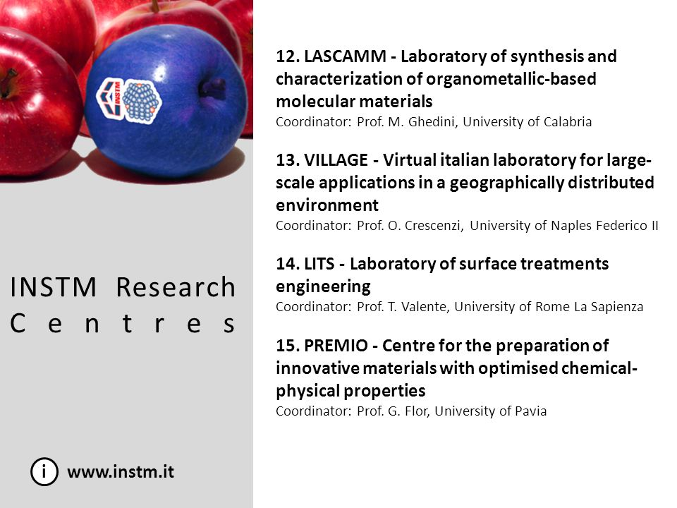 i www.instm.it INSTM in FP7: Nanosciences, nanotechnologie, materials and new production technologies Further informations: http://www.instm.it/test_new_version/index.php?targetpage=include-ricerca-progetti.php 5.