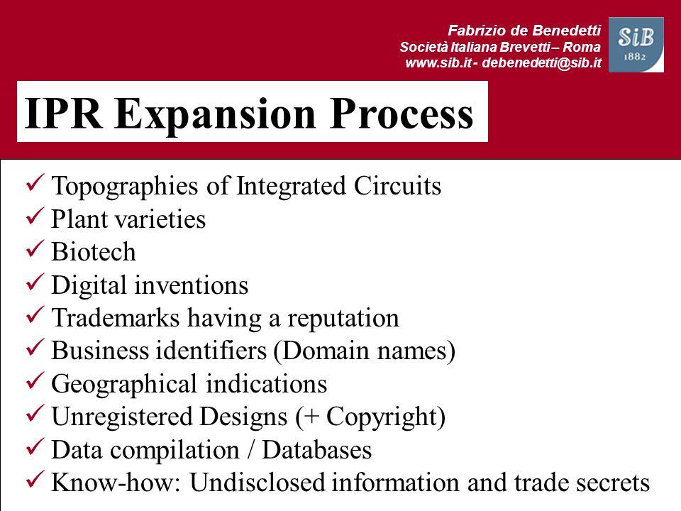 Fabrizio de Benedetti Società Italiana Brevetti – Roma www.sib.it - debenedetti@sib.it IPR Expansion Process Topographies of Integrated Circuits Plant
