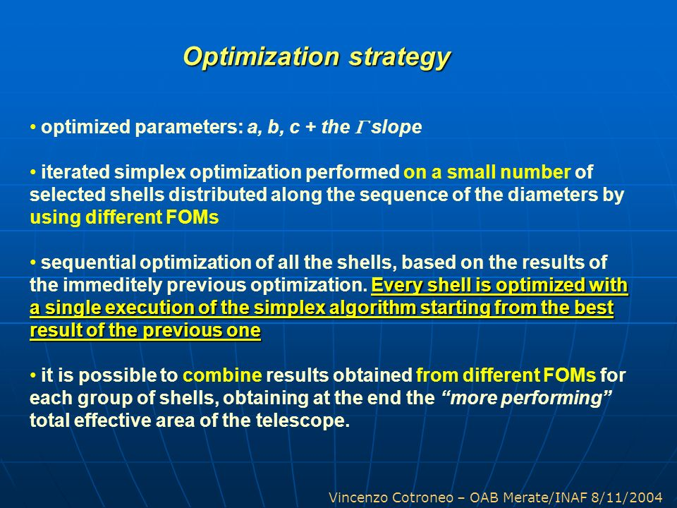 Vincenzo Cotroneo – OAB Merate/INAF 8/11/2004 Optimization strategy optimized parameters: a, b, c + the slope iterated simplex optimization performed