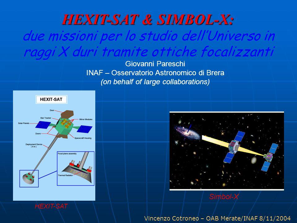 Vincenzo Cotroneo – OAB Merate/INAF 8/11/2004 HEXIT-SAT & SIMBOL-X: due missioni per lo studio dellUniverso in raggi X duri tramite ottiche focalizzan