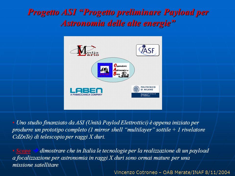 Vincenzo Cotroneo – OAB Merate/INAF 8/11/2004 Uno studio finanziato da ASI (Unità Paylod Elettrottici) è appena iniziato per produrre un prototipo com