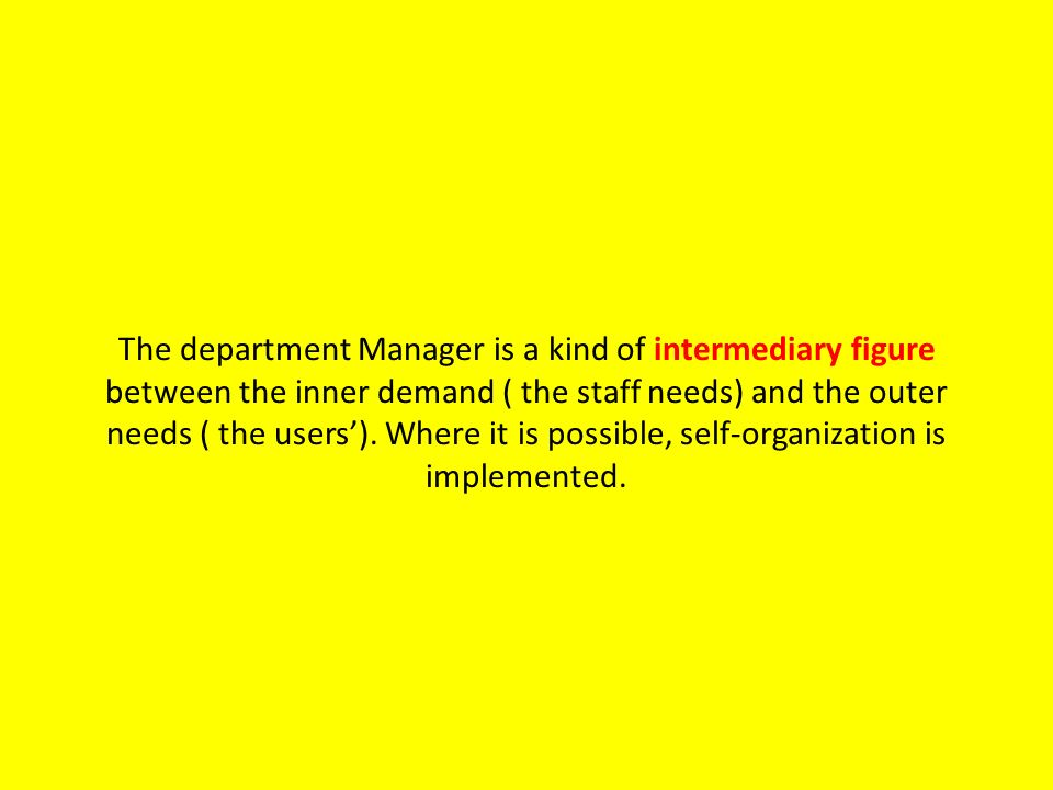 The department Manager is a kind of intermediary figure between the inner demand ( the staff needs) and the outer needs ( the users).