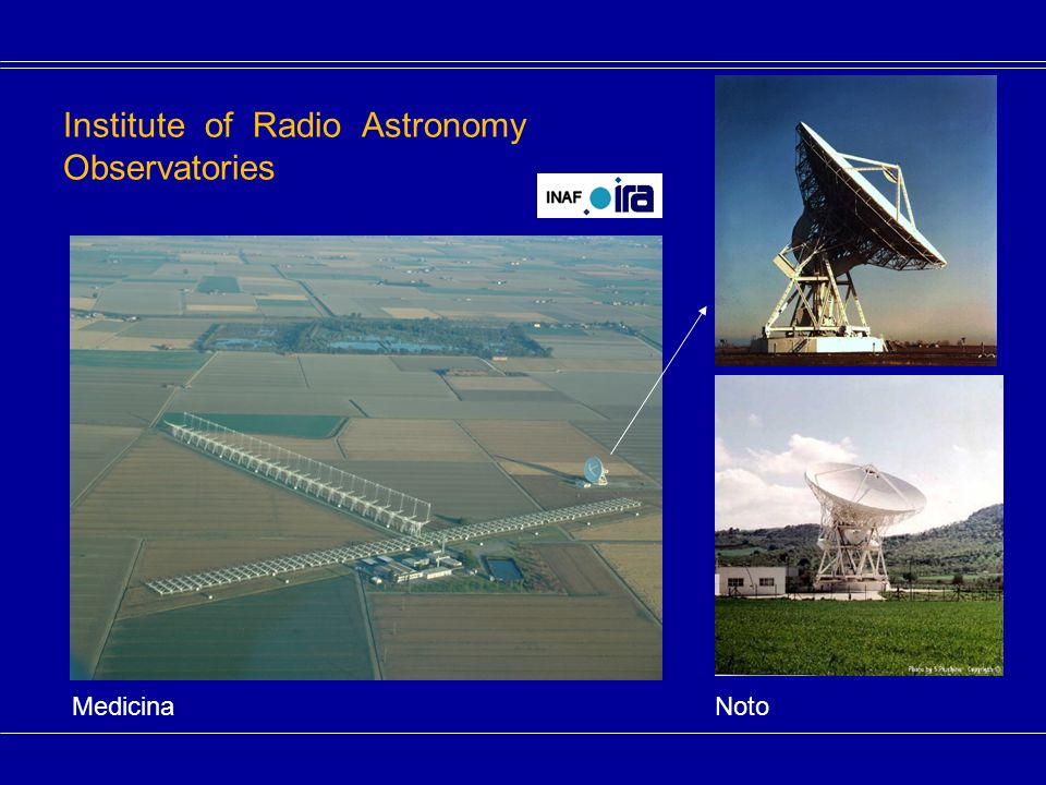 Institute of Radio Astronomy Observatories Medicina Noto