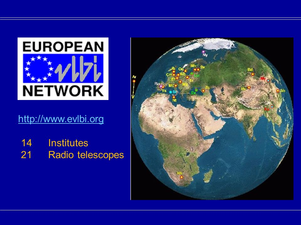 http://www.evlbi.org 14Institutes 21 Radio telescopes