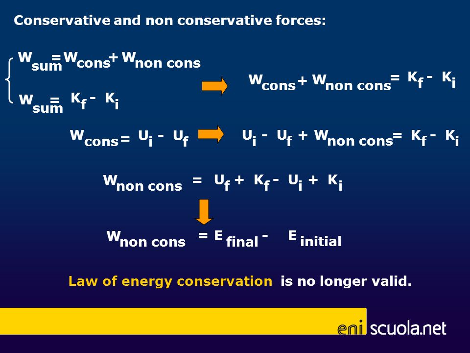 Conservative and non conservative forces: sum =WW cons W non cons + sum W K - K fi = fi = W cons W non cons + W cons = U - U if W non cons + U - U if