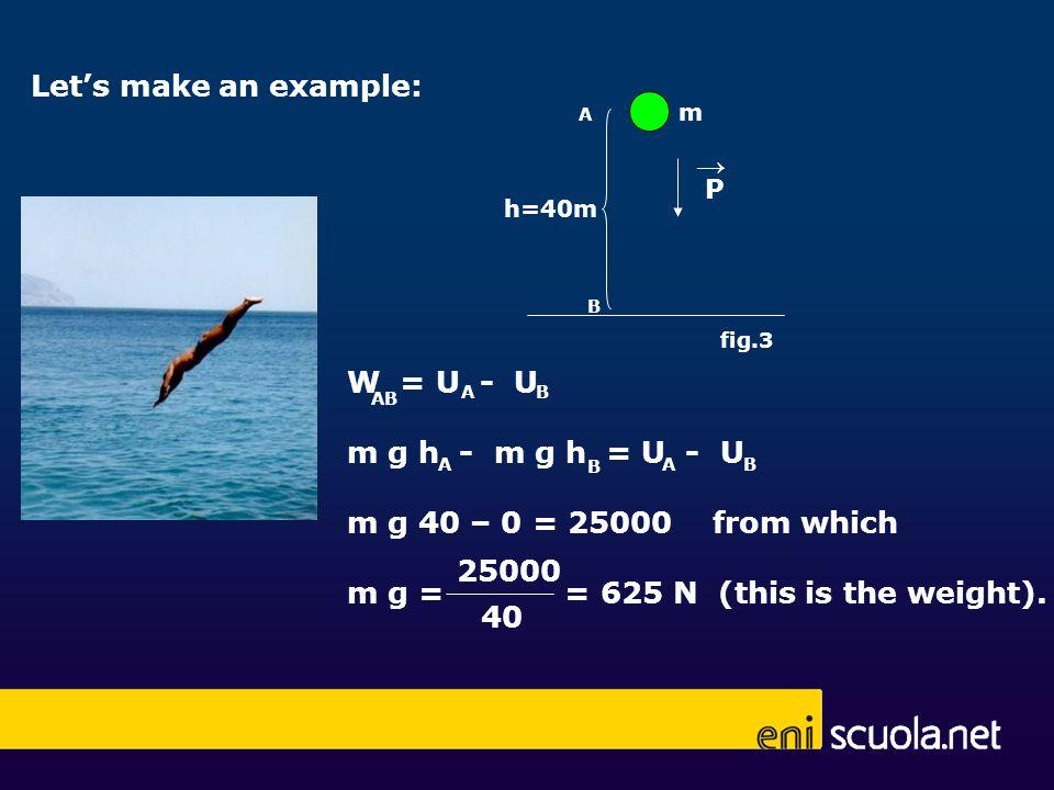 P m A B h=40m fig.3 Lets make an example: W = U - U m g h - m g h = U - U m g 40 – 0 = 25000 from which m g = = 625 N (this is the weight). BA AB BA B