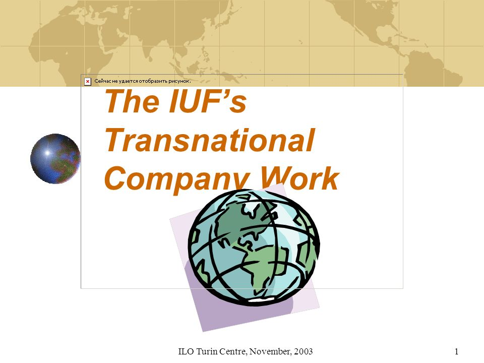 ILO Turin Centre, November, 20031 The IUFs Transnational Company Work