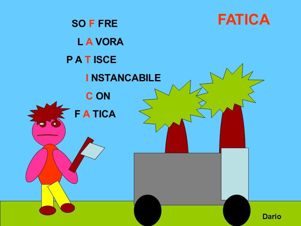 SO F FRE L A VORA P A T ISCE I NSTANCABILE C ON F A TICA FATICA Dario