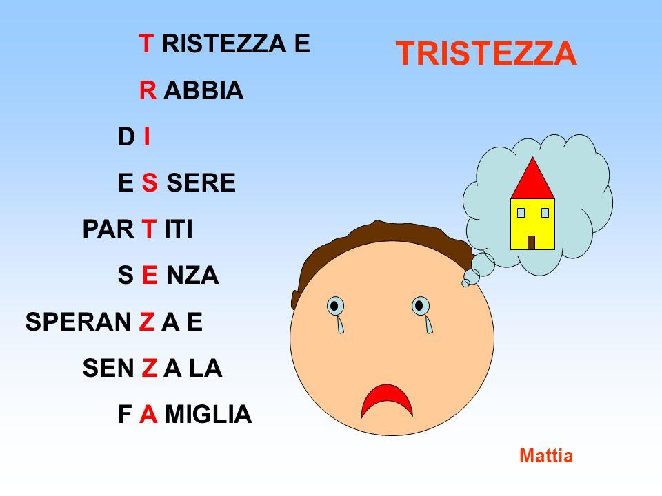 T RISTEZZA E R ABBIA D I E S SERE PAR T ITI S E NZA SPERAN Z A E SEN Z A LA F A MIGLIA Mattia TRISTEZZA