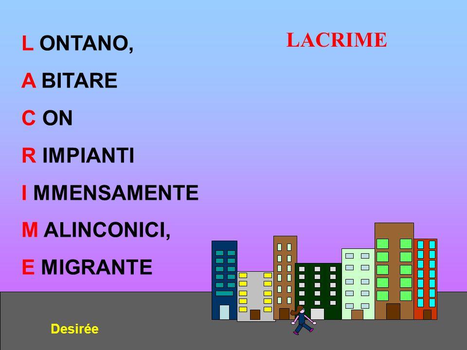 LACRIME Desirée L ONTANO, A BITARE C ON R IMPIANTI I MMENSAMENTE M ALINCONICI, E MIGRANTE