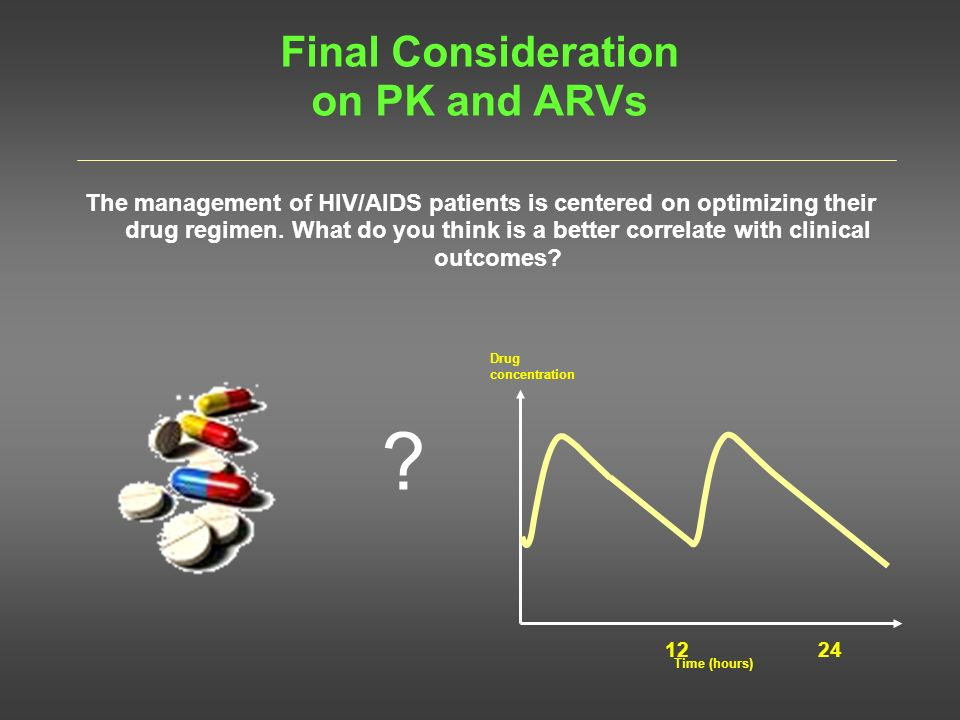 Final Consideration on PK and ARVs The management of HIV/AIDS patients is centered on optimizing their drug regimen. What do you think is a better cor