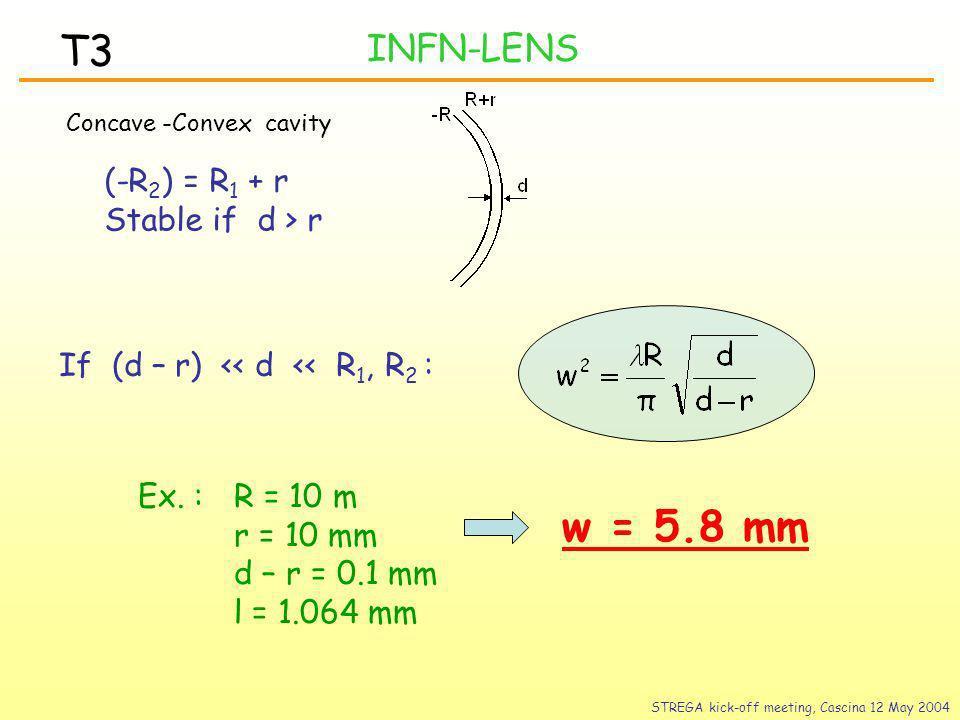 INFN-LENS T3 Concave -Convex cavity (-R 2 ) = R 1 + r Stable if d > r If (d – r) << d << R 1, R 2 : Ex.