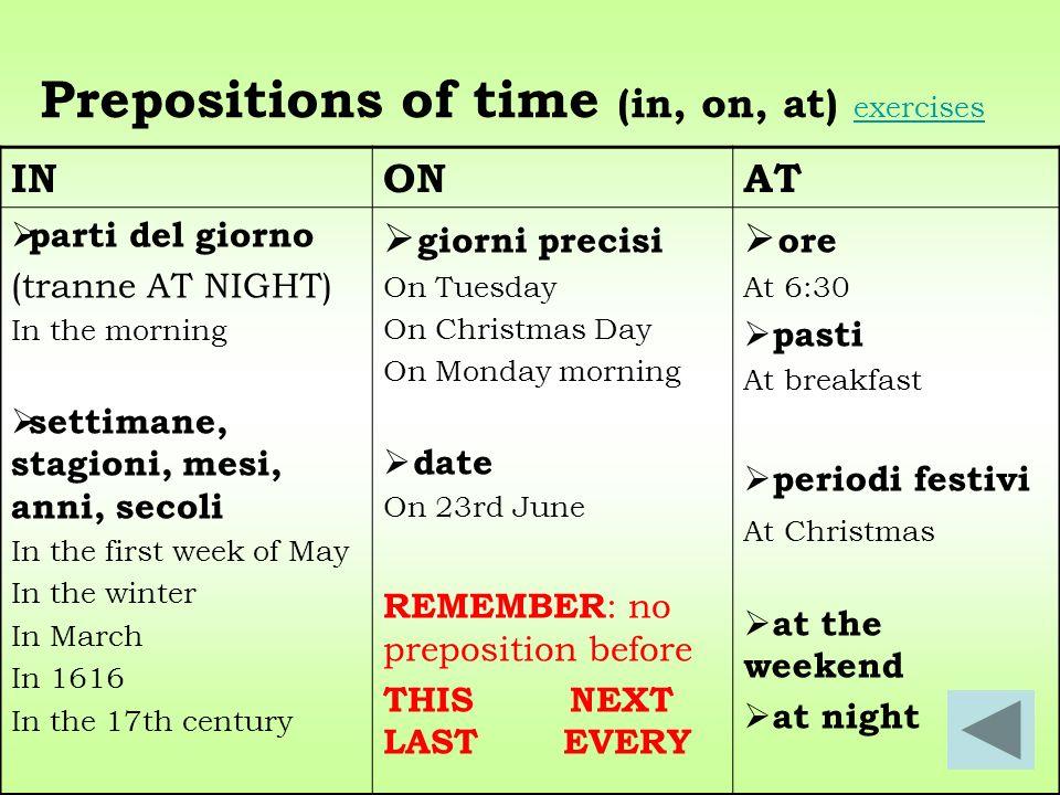 Prepositions of time (in, on, at) exercises exercises INONAT parti del giorno (tranne AT NIGHT) In the morning settimane, stagioni, mesi, anni, secoli