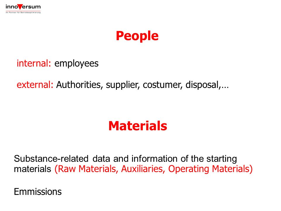 People internal: employees external: Authorities, supplier, costumer, disposal,… Substance-related data and information of the starting materials (Raw