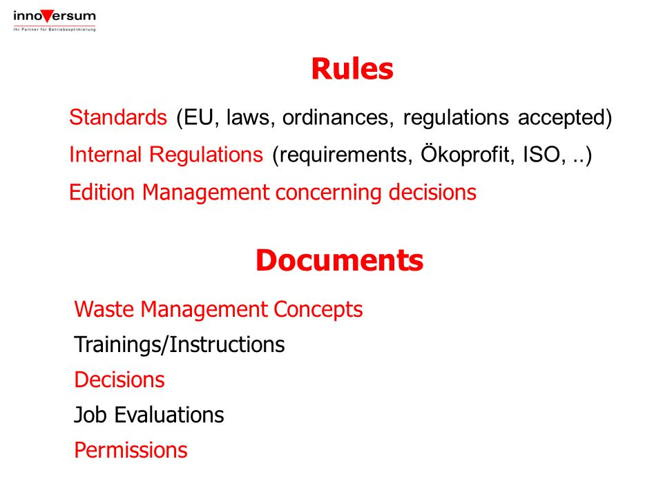 Rules Standards (EU, laws, ordinances, regulations accepted) Internal Regulations (requirements, Ökoprofit, ISO,..) Edition Management concerning deci