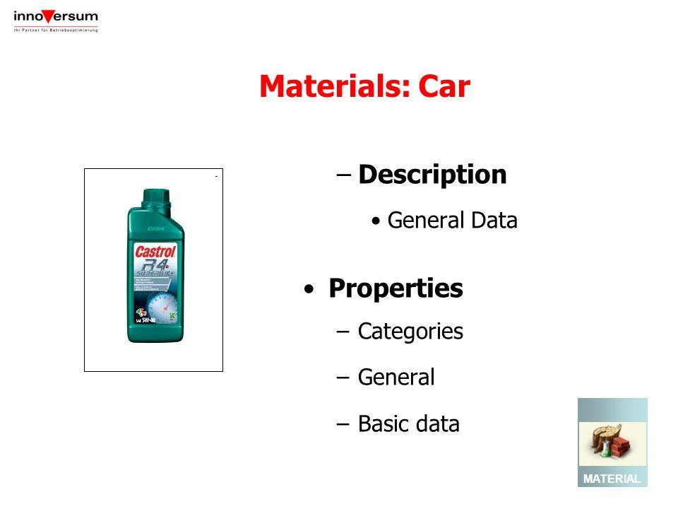 Materials: Car –Description General Data Properties –Categories –General –Basic data MATERIAL