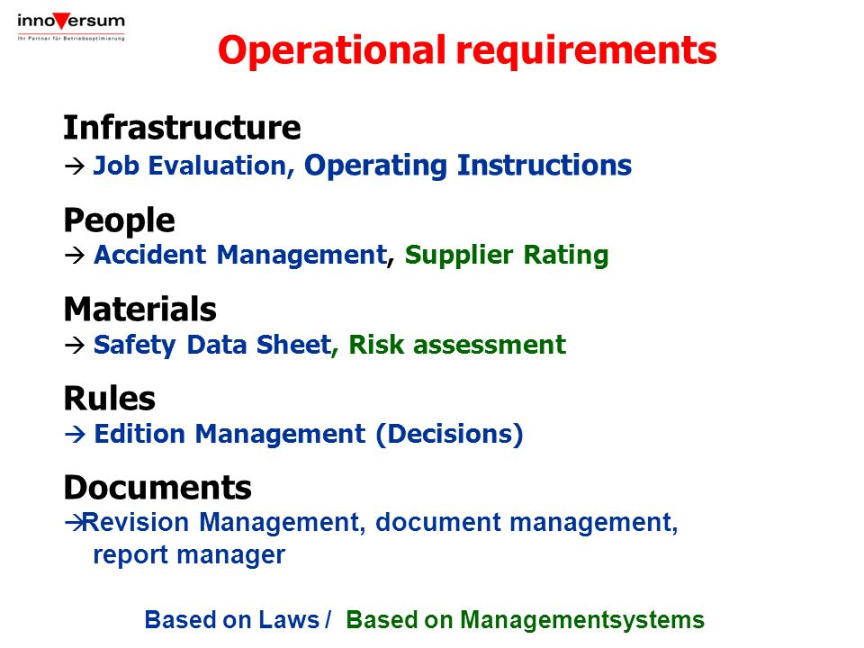 Infrastructure Job Evaluation, Operating Instructions People Accident Management, Supplier Rating Materials Safety Data Sheet, Risk assessment Rules E