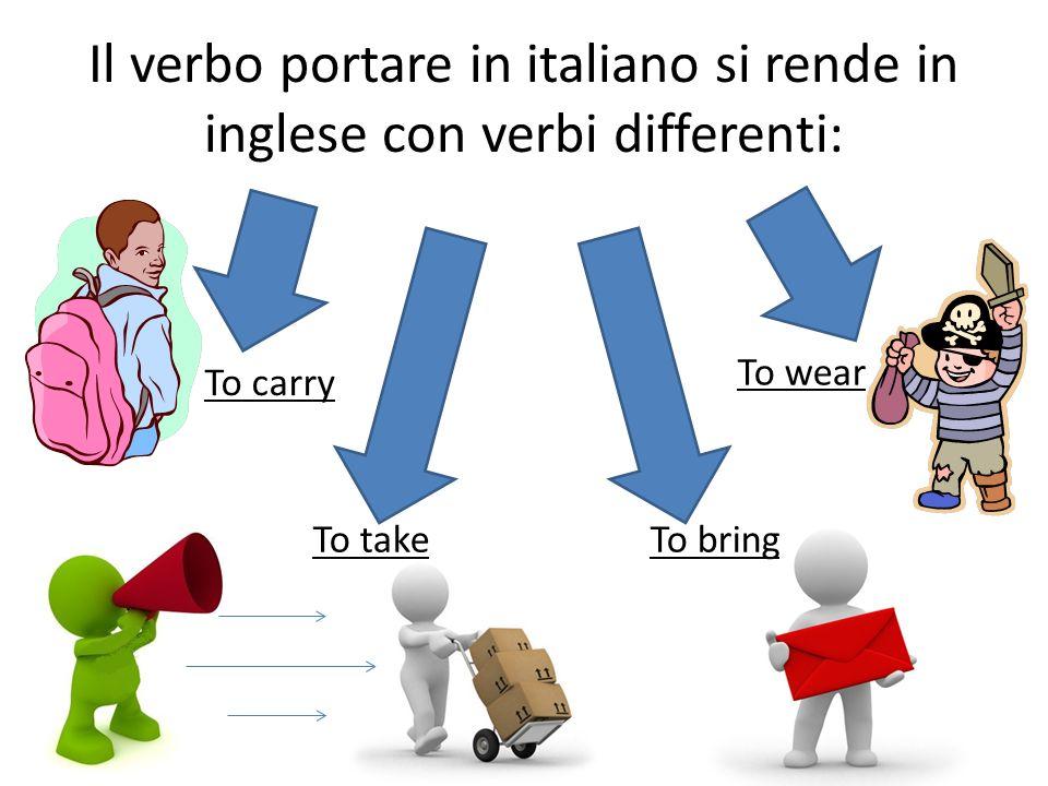 Il verbo portare in italiano si rende in inglese con verbi differenti: To bringTo take To carry To wear