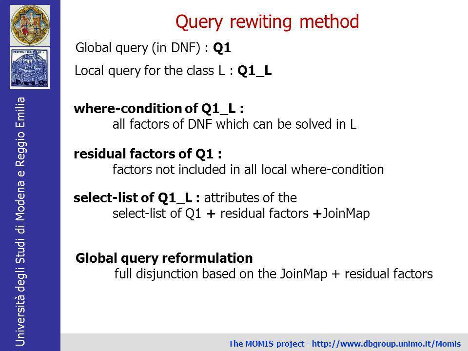 Università degli Studi di Modena e Reggio Emilia The MOMIS project - http://www.dbgroup.unimo.it/Momis Query rewiting method Global query (in DNF) : Q